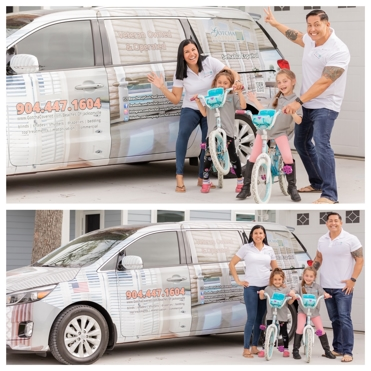 Landazuri family in front of a car