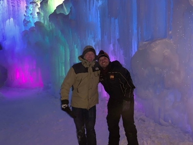 Eric and Nick in an icy area