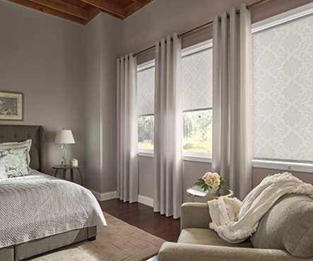 Bedroom roller shades, draperies and curtains