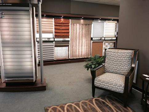 Raleigh blinds and shades showroom with seating