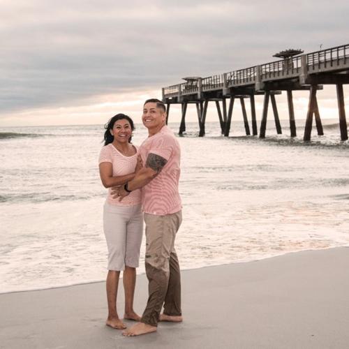 Dorian and Ana Landazuri at the beach
