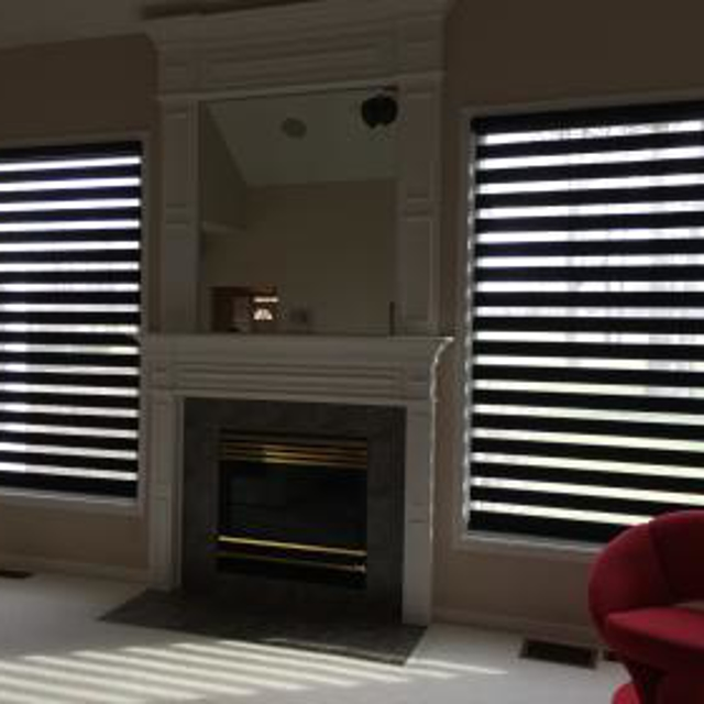 Window shades in living room