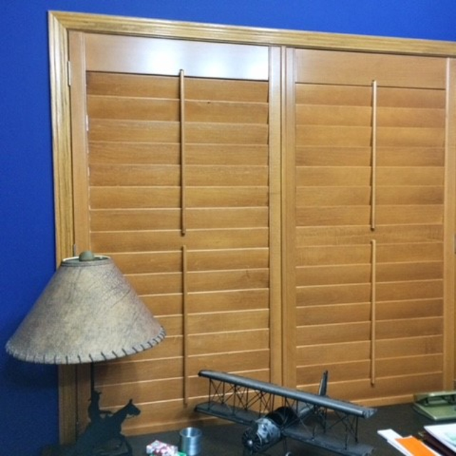 Closed wooden shutters in office