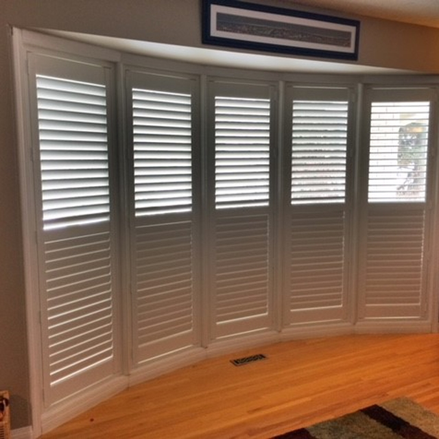 White shutters in reading nook