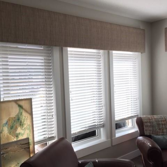 Angel view of white blinds