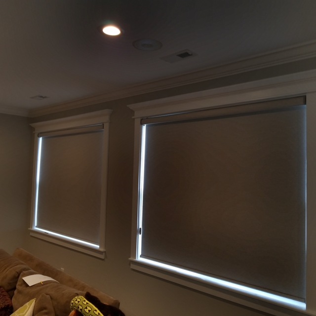 Modern roller shades offer blackout privacy day or night.