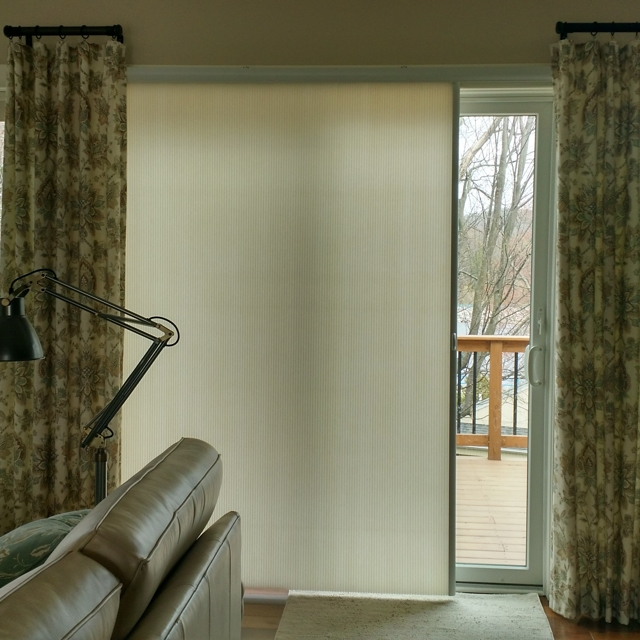 SlideVue vertical cell shade hidden behind drapery panel