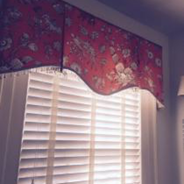 Board Valance Trimmed in Glass Beads over a Hunter Douglas Everwood.