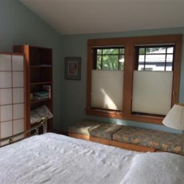 Solar shades in bedroom