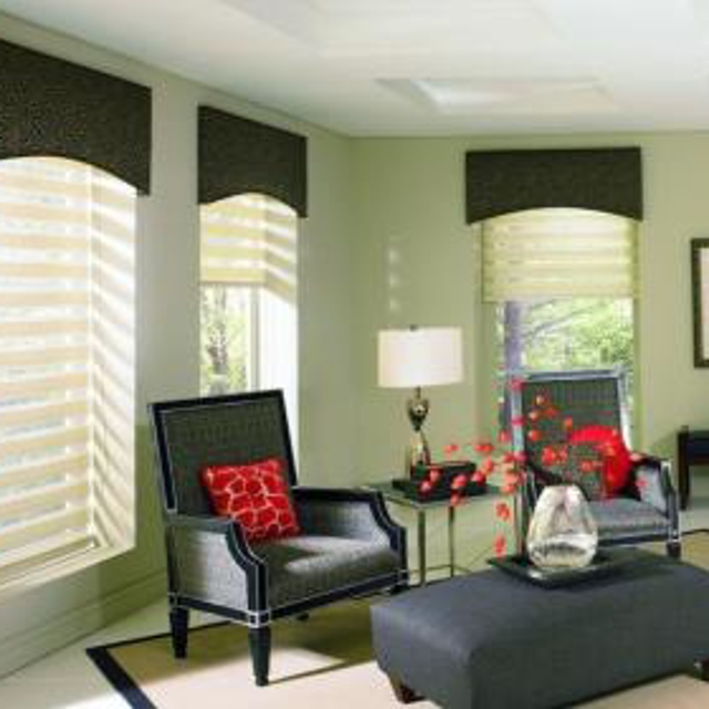 Dark colored top treatments in living room