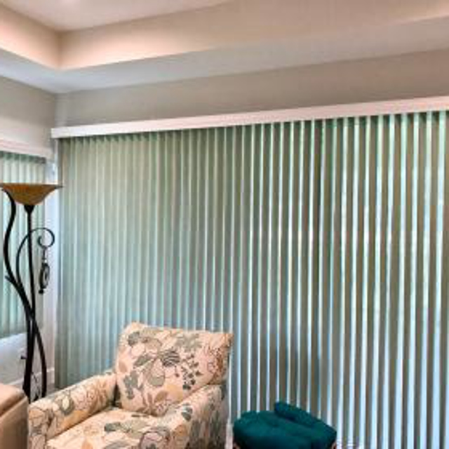 Vertical blind with decorative sheers that surround the louvers.