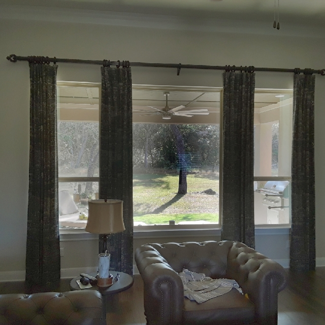 Brown drapery curtains