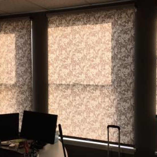 Patterned roller shades add style and elegance (and light control!) to this office space in Forest Grove.
