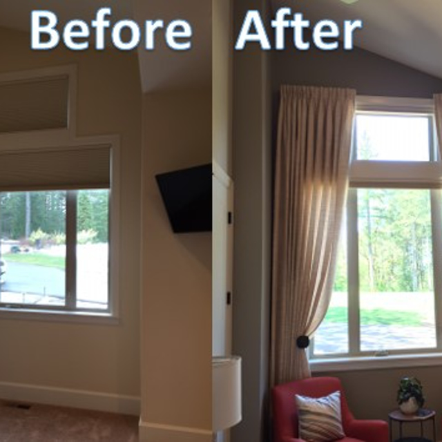 Before and after photos of drapery curtains