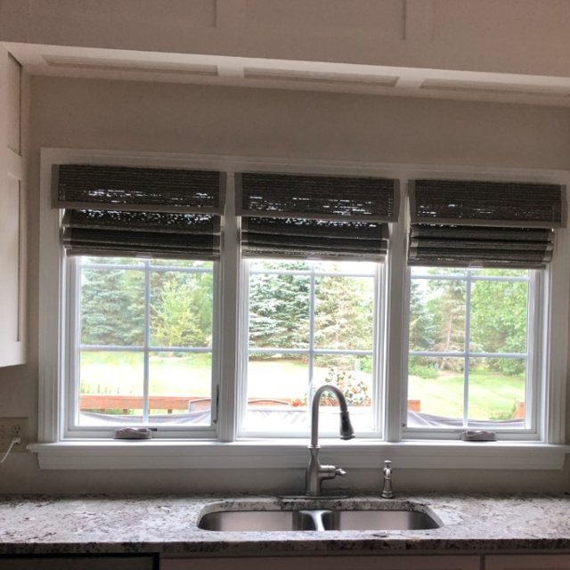 woven shades in kitchen