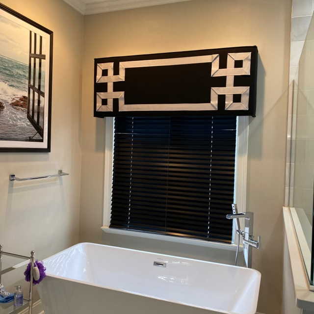 Custom cornice and black wood blinds for Master Bath.