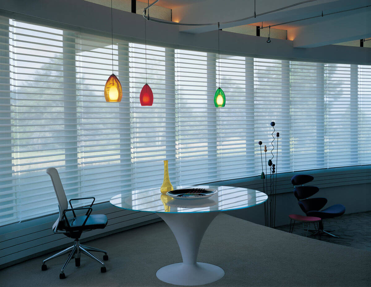 Mid-century modern window treatments will be simple and functional such as horizontal blinds and sheer blinds.