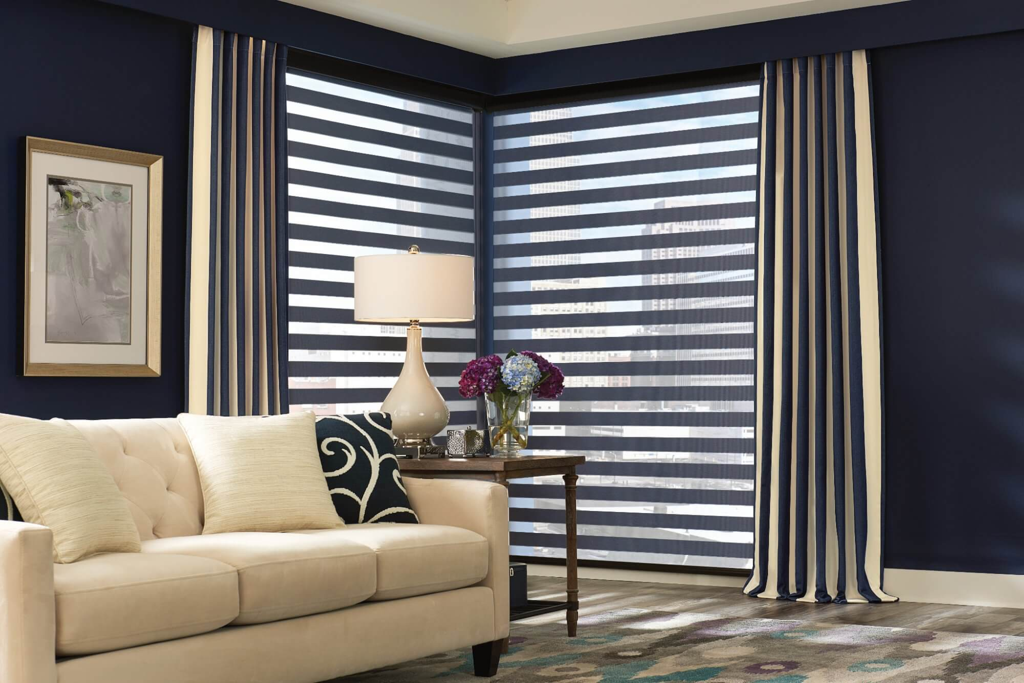 Transitional design styles are a combination of traditional and contemporary designs. Transitional window treatments will be understated but elegant.