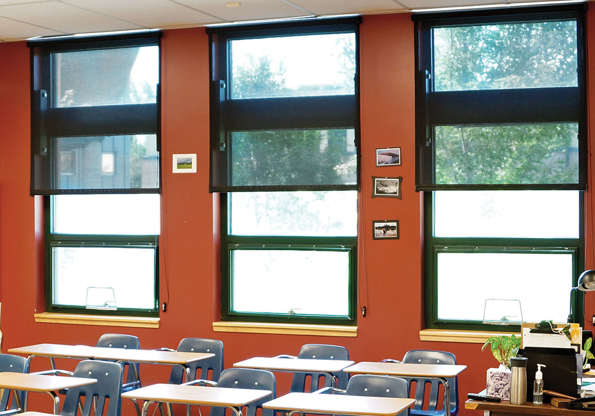 Commercial window treatments for schools should be simple and functional.