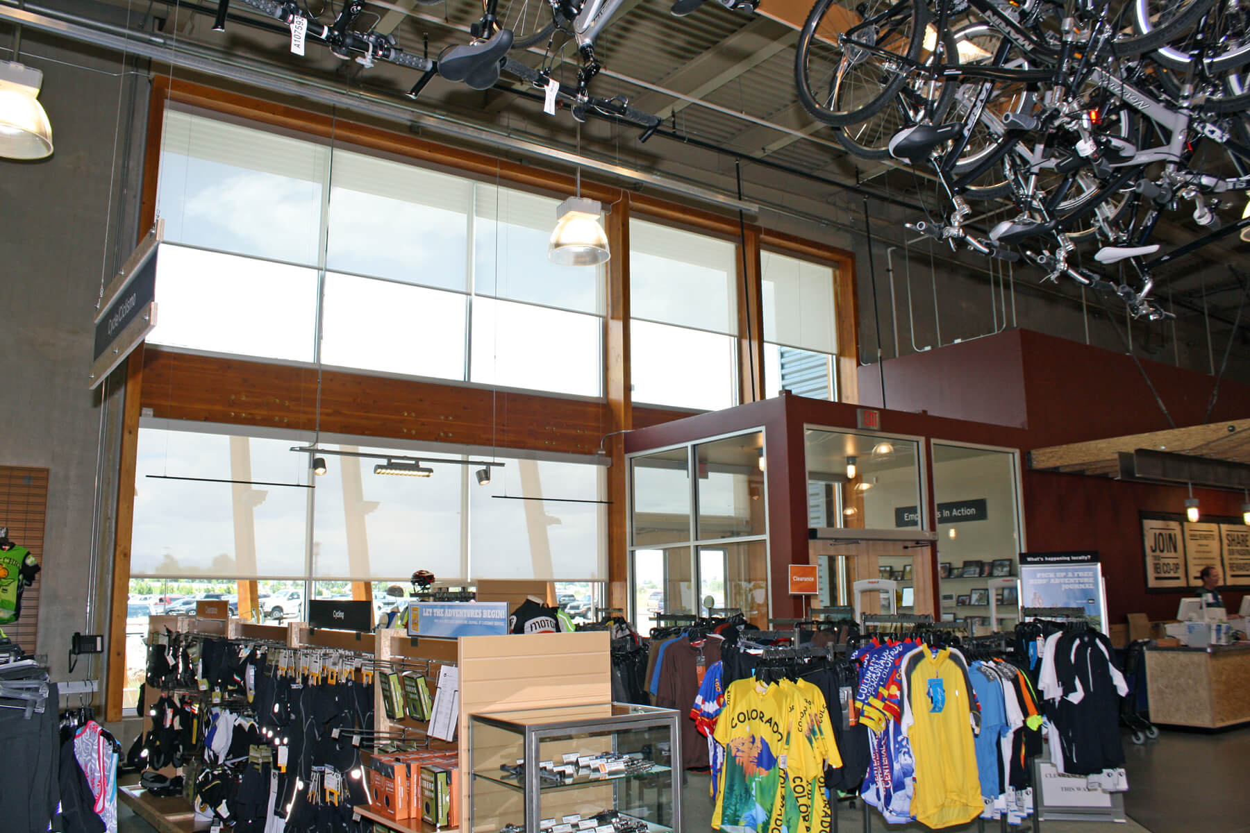 Shades and screens are excellent commercial window treatments options for retail locations because they can be printed with logos and branding.