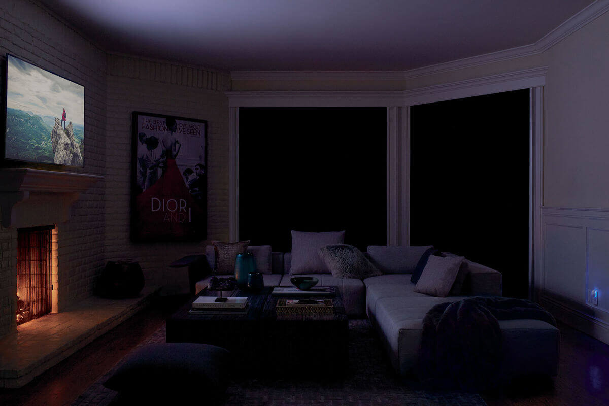 Blackout shades are the best window treatments for media rooms because they have tracks along the sides to prevent light from seepring in around the edges.