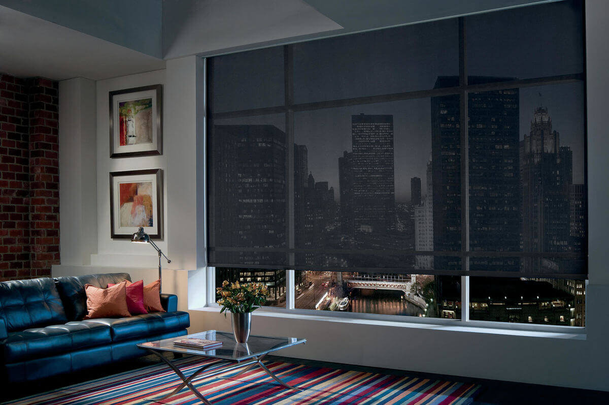 Solar shades are roller shades that have mesh-like material to help block UV rays and are beautiful window treatment options for rooms with a view.