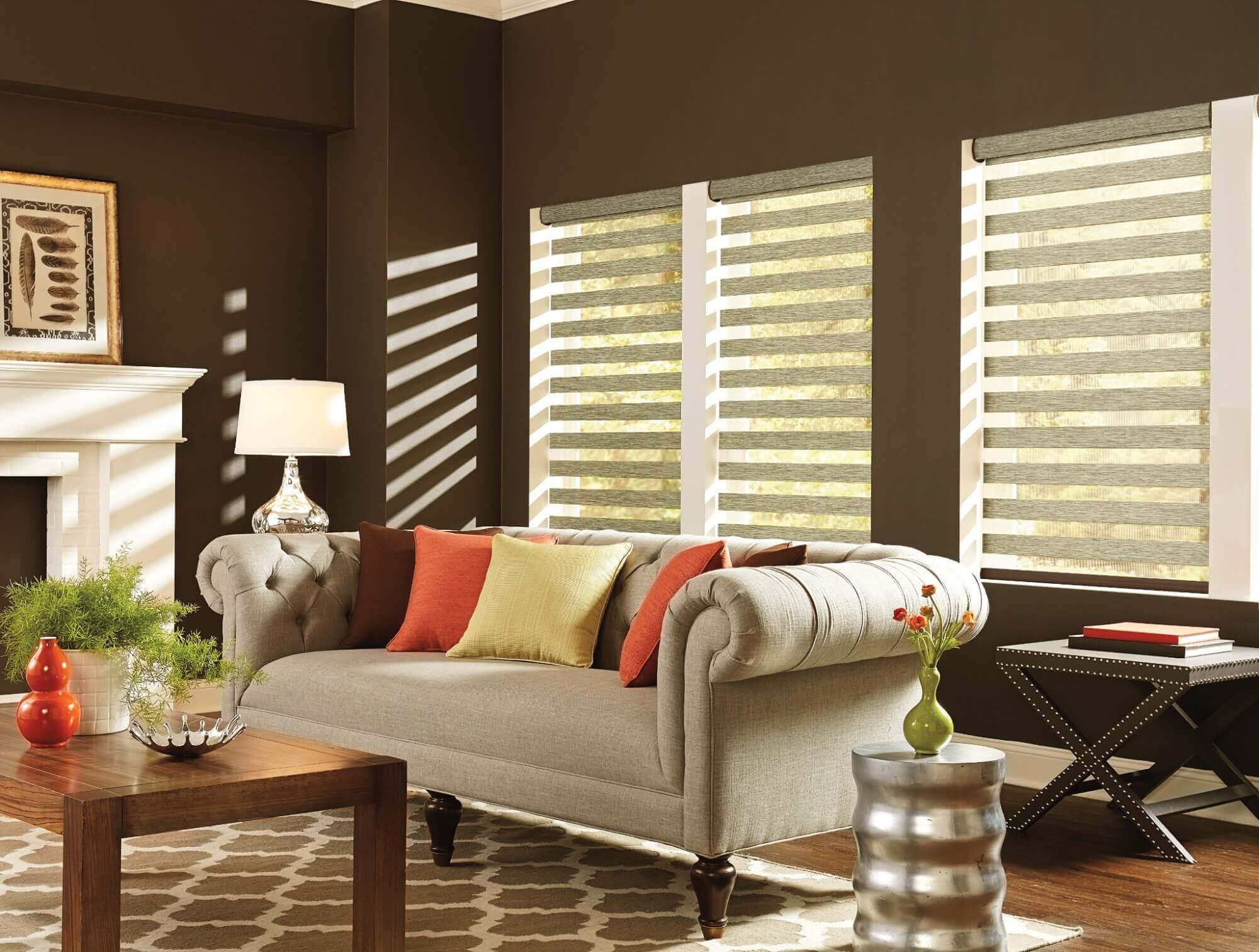 Layered shades have pieces of fabric that alternated between light filtering and solid opacities and are beautiful window treatments for light control.