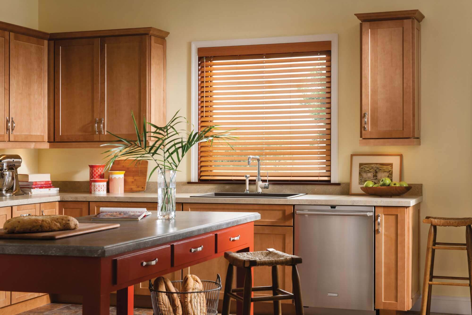 Consider the placement of your window treatments in the kitchen so they can resist splashes, moisture, or humidity.