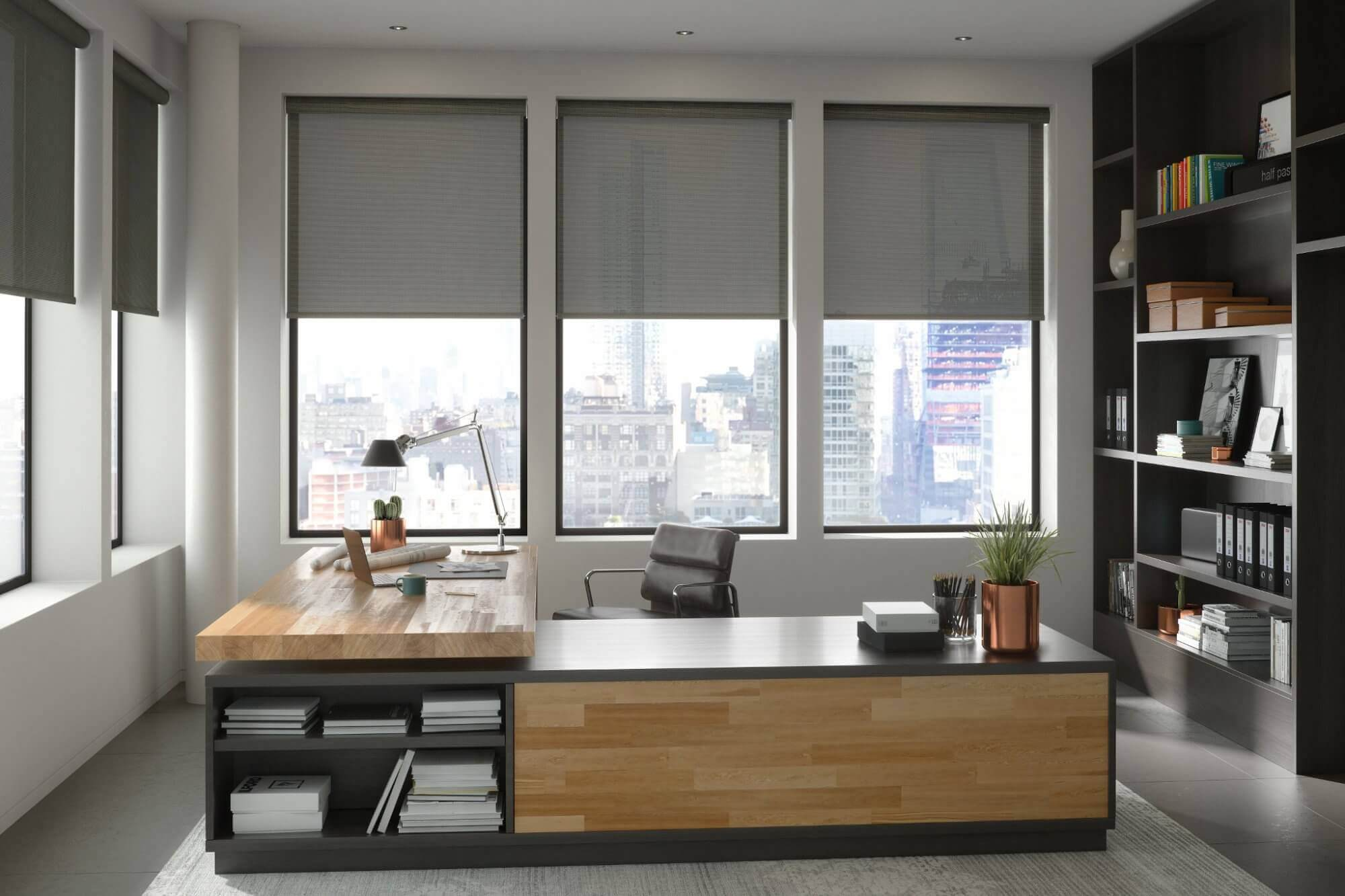 Window treatments in an office space need block unwanted glare or harsh light.