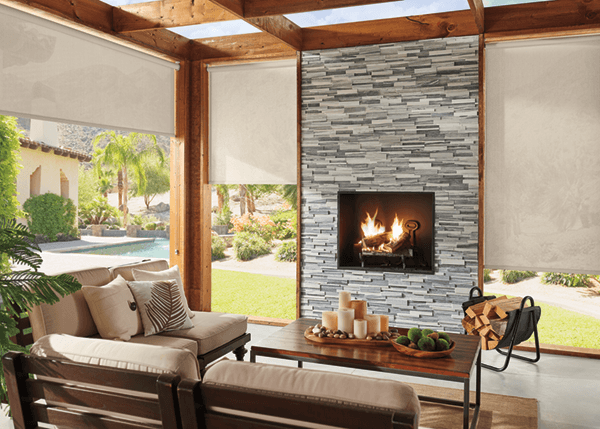Shades and modern fireplace
