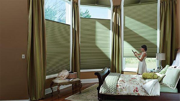 Motorization blind treatment in bedroom