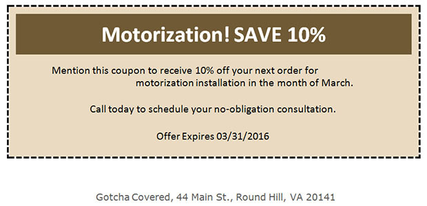 March 2016 Motorization coupon