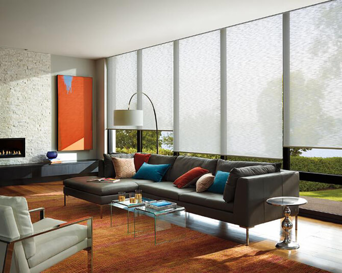 Solar shades in modern living room