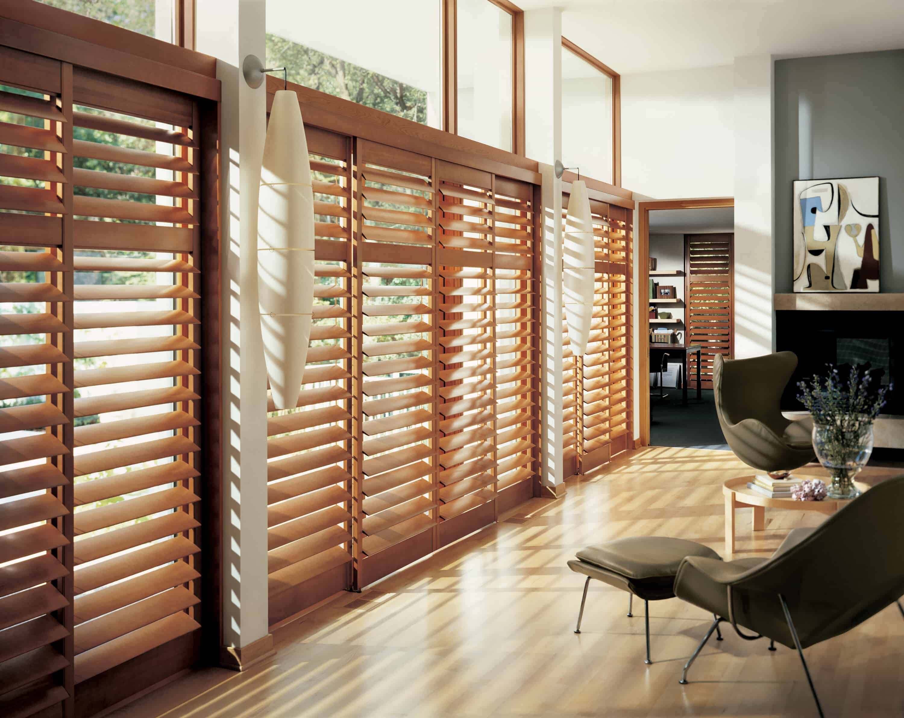 wood indoor shutters for picture windows