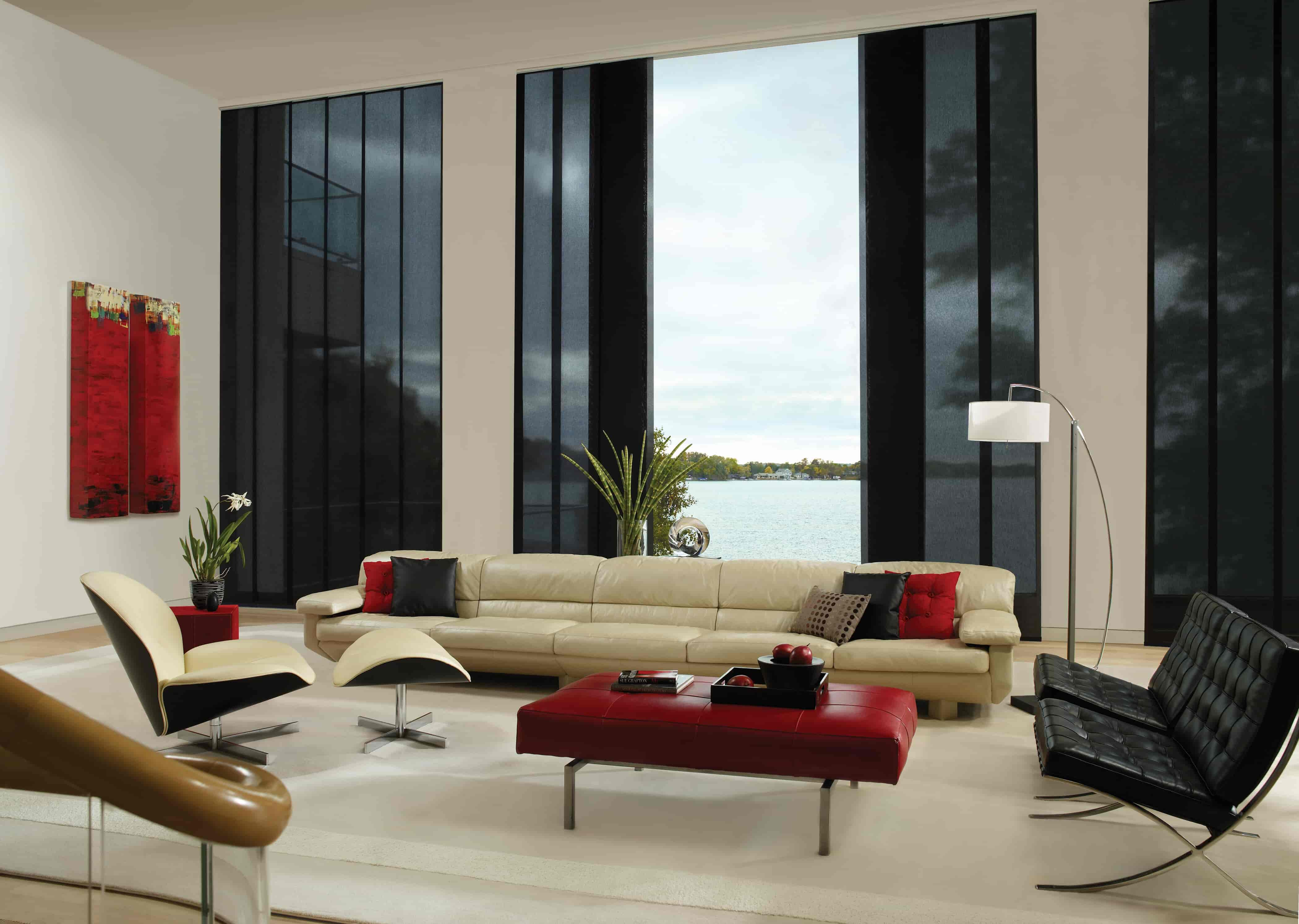 modern living room with red accents