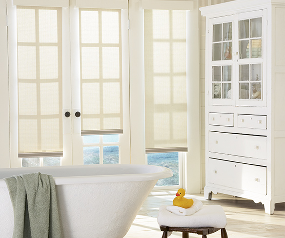 Bathroom roller shades