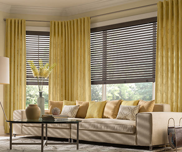 Living room drapery and curtains, with wood blinds