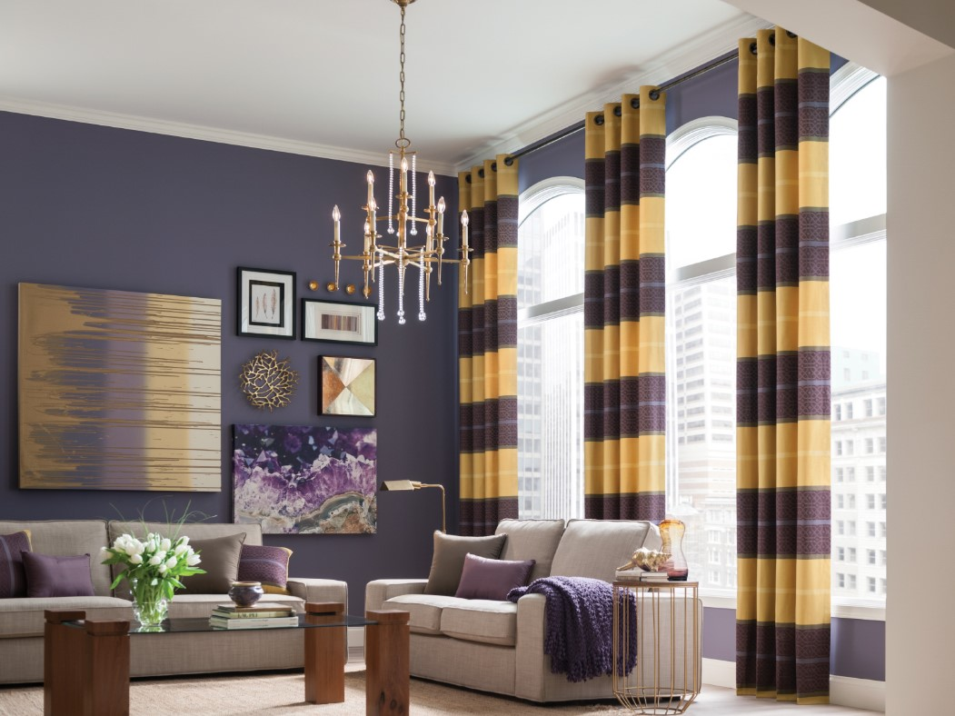 bold purple and yellow living room