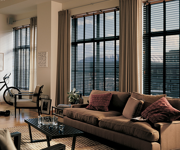 <p>Living room blinds and draperies </p>