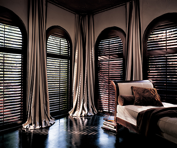 Bedroom draperies and shutters