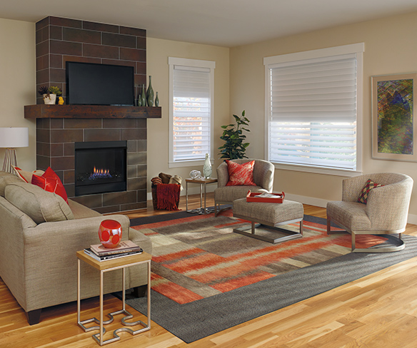 transitional living room with warm decor