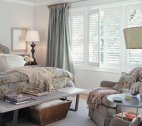 bedroom windows with shutters