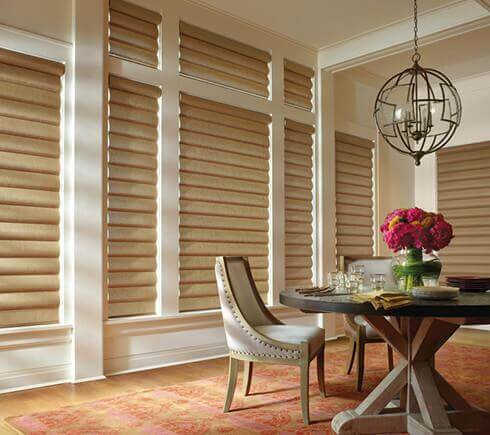 dining room with shades