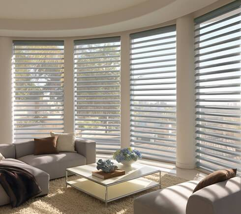 circular window view with blinds